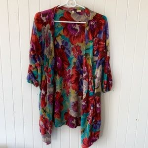 Moth Anthropologie Colorful Floral Cardigan Size M